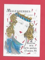 MALESHERBES 45.Bourse Carte Postale Du 17 Mars 1991. Illustrateur Jean Luc Perrigault. - Malesherbes