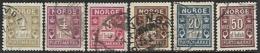 Norway  1889-1914  Sc#J1-6 Dues Set Used  2016 Scott Value $11.80 - Usados