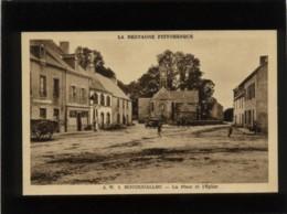 56 Roudouallec La Place Et L'église édit. Waron N° 3 Animée - Autres Communes