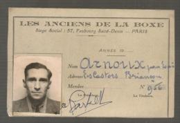 1961 RCARTE ADHERENT LES  ANCIENS DE LA BOXE / SIGNATURE DE CHARLES REY GOLLIET   / BOXE BOXEUR B835 - Boxing