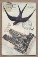 CPA 51 - REIMS - REIMS à Vol D'oiseau - Amitiés - TB CP 2 Vues Cathédrale + OISEAU HIRONDELLE 1908 - Reims