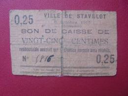 STAVELOT 25 CENTIMES 1915 CIRCULER-REPARER (B.8) - [ 3] Duitse Bezetting Van België