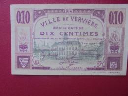 VERVIERS 10 CENTIMES 1914 CIRCULER (B.8) - [ 3] Occupazioni Tedesche Del Belgio