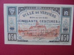 VERVIERS 50 CENTIMES 1914 CIRCULER (B.8) - [ 3] Occupazioni Tedesche Del Belgio
