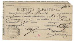 LARIANA NAVIGAZIONE VAPORE LAGO DI COMO RICEVUTA SPEDIZIONE GRAVEDONA 1895 - Otros