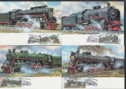 UKRAINE 2006 Mi 808MK-811MK Locomotives / Lokomotiven. First Day Stamp Harkiv / Ersttagsstempel Lugansk - Eisenbahnen