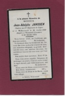 JEAN-ADOLPHE JANSSEN: WELKENRAEDT-WEZEMAAL(LEUVEN)-OORLOG  1914-18-GESNEUVELDE SOLDAAT-MILITARIA-GESNEUVELD - Décès