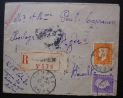 Soupex (Aude) 1945 Lettre Recommandée Pour Agde (Hérault) - 1921-1960: Periodo Moderno