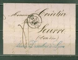 France  Lettre  Lyon Pour Seurre Du 16 Aout 1842 - Poststempel (Briefe)