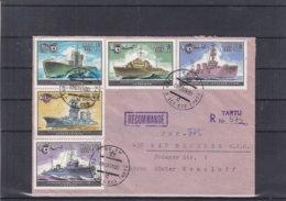 Russie - Estonie - Lettre Recom De 1985 -  Oblit Tartu - Exp Vers Bad Homburg - Bateaux - Sous Marin - 1923-1991 URSS