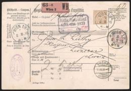 Coupon Intern. 5K Affr. 50 K Lilas Càd WIEN/1898 Pour La Suisse (petit Déchirure Dans Le Bas) - 1850-1918 Impero