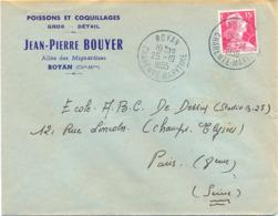 POISSONS ET COQUILLAGES - JEAN-PIERRE BOUYER ROYAN CHARENTE-MARITIME  TàD 25-10-1955 - Marcophilie (Lettres)