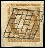 EMISSION DE 1849 - 1    10c. Bistre-jaune, COIN De FEUILLE, Obl. GRILLE S. Petit Fragt, Superbe - 1849-1850 Ceres