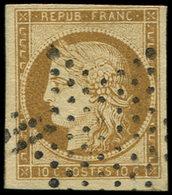 EMISSION DE 1849 - 1    10c. Bistre-jaune, Obl. ETOILE, Grandes Marges, TTB - 1849-1850 Ceres