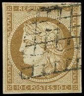 EMISSION DE 1849 - 1    10c. Bistre-jaune, Oblitéré GRILLE, TB. C - 1849-1850 Ceres