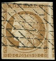 EMISSION DE 1849 - 1    10c. Bistre-jaune, Obl. GRILLE SANS FIN, TTB - 1849-1850 Ceres