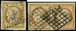 EMISSION DE 1849 - 1    10c. Bistre-jaune, PAIRE Et Unité Obl. GRILLE Et PC, TB - 1849-1850 Ceres
