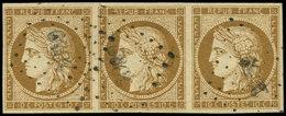 EMISSION DE 1849 - 1a   10c. Bistre-brun, BANDE De 3 Obl. PC, Jolie Nuance, TTB. C - 1849-1850 Ceres