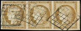 EMISSION DE 1849 - 1a   10c. Bistre-brun, BANDE De 3 Obl. GRILLE, TB - 1849-1850 Ceres