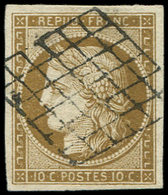 EMISSION DE 1849 - 1b   10c. Bistre-VERDATRE, Oblitéré GRILLE, Superbe. C - 1849-1850 Ceres
