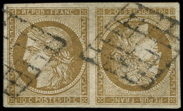 EMISSION DE 1849 - 1    10c. Bistre-VERDATRE, TETE-BECHE, FAUX Sperati, Obl. GRILLE, TB - 1849-1850 Ceres
