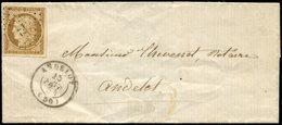 Let EMISSION DE 1849 - 1    10c. Bistre-jaune, Obl. PC 72 S. LSC Locale, Càd T15 ANDELOT 15/2/54, TB - 1849-1850 Ceres