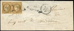 Let EMISSION DE 1849 - 1a   10c. Bistre-brun, PAIRE Obl. PC 2844 S. Env., Cursive 40/SAVIGNY-S-BRAYE Et Dateur B 5/6/53, - 1849-1850 Ceres