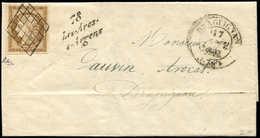 Let EMISSION DE 1849 - 1b   10c. Bistre-VERDATRE, Obl. GRILLE S. LAC, Càd T14 DRAGUIGNAN 17/1/51 Et Cursive 78/LES ARCS/ - 1849-1850 Ceres