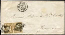 Let EMISSION DE 1849 - 1b   10c. Bistre-VERDATRE, PAIRE Obl. GRILLE S. LAC, Càd T15 St QUENTIN 22/8/51, TB, Cote Maury,  - 1849-1850 Ceres