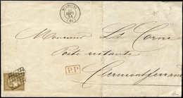 Let EMISSION DE 1849 - 1c   10c. Bistre VERDATRE FONCE, Nuance Exceptionnelle, Obl. GRILLE S. LSC, Càd T15 MULHOUSE 23/9 - 1849-1850 Ceres