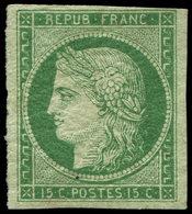 * EMISSION DE 1849 - 2    15c. Vert, Grande Partie De Gomme Originale, Très Lég. Aminci Mais Très Frais Et Aspect TTB, C - 1849-1850 Ceres
