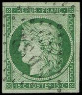 EMISSION DE 1849 - 2    15c. Vert, Oblitéré Los. DS2, TTB - 1849-1850 Ceres
