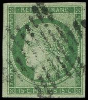 EMISSION DE 1849 - 2    15c. Vert, Oblitéré ETOILE, TB - 1849-1850 Ceres