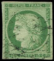 EMISSION DE 1849 - 2    15c. Vert, Obl. GRILLE SANS FIN, Frappe Légère, TB - 1849-1850 Ceres