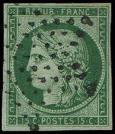 EMISSION DE 1849 - 2b   15c. Vert FONCE, Obl. ETOILE, TB - 1849-1850 Ceres
