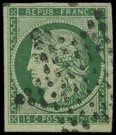 EMISSION DE 1849 - 2b   15c. Vert FONCE, Obl. ETOILE, Petit Pelurage, Aspect TTB - 1849-1850 Ceres