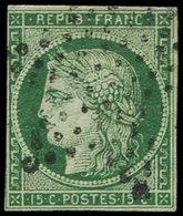 EMISSION DE 1849 - 2c   15c. Vert TRES FONCE, Obl. ETOILE, Filet Coupé à Gauche, B/TB - 1849-1850 Ceres