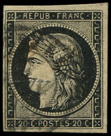 EMISSION DE 1849 - 3    20c. Noir Sur Jaune, Obl. Càd T15 CASTRES 7 JANV 49, Léger Pli, Sinon TB. C - 1849-1850 Ceres