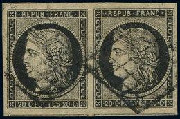 EMISSION DE 1849 - 3    20c. Noir Sur Jaune, Très Grandes Marges, PAIRE Obl. GRILLE, TTB. C - 1849-1850 Ceres