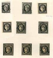 EMISSION DE 1849 - 3    20c. Noir Sur Jaune, 8 Ex. Obl. Dont Un Càd, Qqs Nuances De Papier, TB - 1849-1850 Ceres