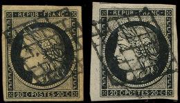EMISSION DE 1849 - 3 Et 3a, 20c. Noir Sur Jaune Et Sur Blanc, Les 2 Marges énormes, Obl. GRILLE, TTB - 1849-1850 Ceres