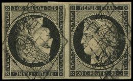 EMISSION DE 1849 - T3d  20c. Noir Sur Jaune, TETE-BECHE Obl. GRILLE, Très Belles Marges Régulières, TTB. Br - 1849-1850 Ceres