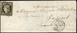 Let EMISSION DE 1849 - 3    20c. Noir Sur Jaune, Obl. GRILLE S. LAC, Càd T15 TOURS 12 JANV 49, UTILISATION PRECOCE De La - 1849-1850 Ceres