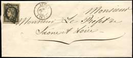 Let EMISSION DE 1849 - 3    20c. Noir Sur Jaune, Marges énormes, Obl. GRILLE S. LSC, Càd T15 AUTUN 4/2/50, Superbe - 1849-1850 Ceres