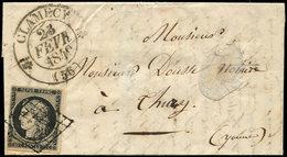 Let EMISSION DE 1849 - 3    20c. Noir Sur Jaune, Obl. GRILLE S. LAC, Càd T12 CLAMECY 23/2/49, TTB - 1849-1850 Ceres