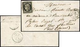 Let EMISSION DE 1849 - 3    20c. Noir Sur Jaune, Obl. Càd T15 MOULINS-S-ALLIER 2 JANV 49 Répété à Côté S. LSC, TTB - 1849-1850 Ceres