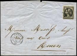 Let EMISSION DE 1849 - 3    20c. Noir Sur Jaune, Obl. ROSETTE A CINQ BRANCHES Sur LAC, Càd (J) PARIS (J) 10 JANV 49, RR, - 1849-1850 Ceres