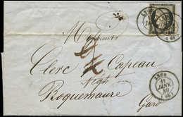 Let EMISSION DE 1849 - 3    20c. Noir Sur Jaune, Touché, Obl. Càd T15 LYON 11 JANV 49 (2 Frappes) S. LAC, Taxe 2 Annulée - 1849-1850 Ceres