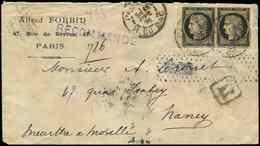 Let EMISSION DE 1849 - 3    20c. Noir Sur Jaune, PAIRE Petit Bdf, Obl. Càd PARIS 18/9/91 S. Env. Rec., Arr. NANCY Le 19. - 1849-1850 Ceres
