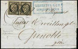 Let EMISSION DE 1849 - 3    20c. Noir Sur Jaune, PAIRE, Un Ex. VARIETE D'impression Dans Les Perles, Obl. GRILLE S. LAC, - 1849-1850 Ceres